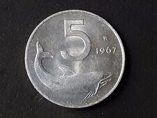 REPUBBLICA MONETA DA 5 LIRE DELFINO OTTIMA 1967