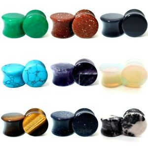 3MM - 30MM STONE EAR PLUG SEMI PRECIOUS STRETCHER TUNNEL TAPER SADDLE TIGER EYE