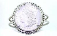 Vintage REAL 1921 Morgan Silver Dollar Seven Inch Silver Color Bracelet EBS7127