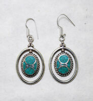 Ethnic sterling silver earrings Asian Turquoise Tibetan jewelry Handmade E5