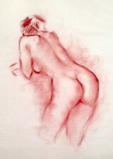"Julian Ritter - Nude Lady - Conte´on Vellum 19"" x 24"" - Un-Signed - 361"