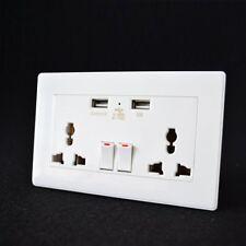 Double Wall Plug Socket 2 Gang 250V with 2 USB Ports Screwless Slim Flat Plate