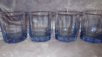 Blue glass Whiskey Glasses by Anchor Hocking paneled weighted bottom 4 10 ounce
