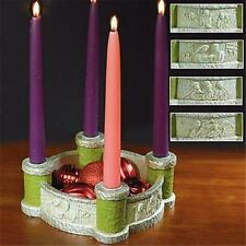 Bethlehem Scenes Advent Wreath Candle Holder Centerpiece with Candles Resin