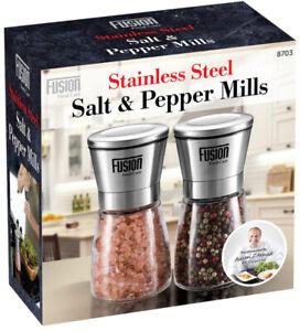 Adjustable Salt & Pepper Grinder Set Stainless Steel Glass Mill Coarse Grinding