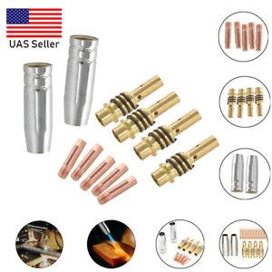 11Pcs Mig Welding Welder Torch Nozzles Gold Trip Holder Contact Set