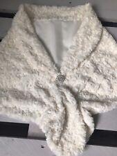 White or Ivory Faux Fur Cape Shrug Stole Bolero Jacket Shawl Wrap Wedding Bridal