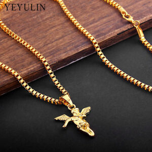 9k Real  Gold Filled Angel Pendant Necklace Pure Gold Color Chain