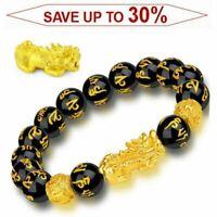 Feng Shui Black Obsidian Beads Pixiu Bracelet Attract Wealth Good Luck Jewelry