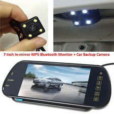 "US-7"" MP5 Bluetooth Car Rearview Mirror Monitor+4 LEDs Car Reverse Backup Camera"