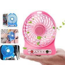 Portable Rechargeable LED Light Fan Air Cooler Mini Desk USB 18650 Battery