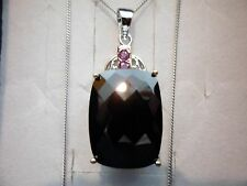"""Black Spinel Cushion Solitaire w/Ruby Accents w/18"""" Chain in 925 Sterling Silver"""