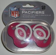 NFL NIB PACIFIER - SET OF 2 - SAN FRANCISCO 49ERS - PINK - SOLID - W/CASE