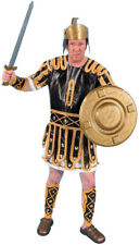 Roman Solider Costume Dxl. Men's Br/ Gold / Wht Tunic Armor Leg & Arm Guards Lg