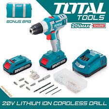 Total Tools Li-ion Cordless Drill Set 20v 2000mAh Battery 47pcs kit, Carry Bag