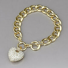 Gold Chain  Paved Rhinestone Heart Charm Bracelet