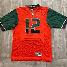 Miami Hurricanes #12 NCAA Nike Authentic Stitch Orange Football Jersey Small