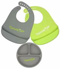 Toddler Tuff Waterproof Silicone Bibs and Plate Set of 3 | Silicone Baby Bib