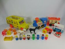 Vintage Fisher Price Lot School Bus Train People Figures Accessories