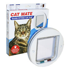 Glass Fit 4 Way Locking Door Cat Mate Flap White Pet 210