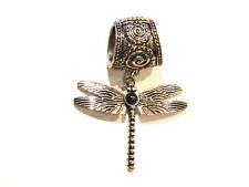 NWT SILVER MAGNETIC SCARF RING W/SILVER DRAGON FLY PENDANT & BLACK CABOCHON