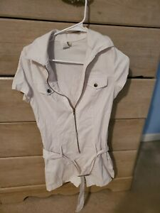 White Zip Up Romper With Belt, Size S