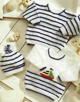"Baby Striped Sweater Hat with Boat motif Knitting Pattern DK12-24"" prem size 518"