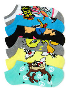 LOONEY TUNES 6 PACK WOMENS NO SHOW SOCKS NEW
