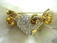 18KGP Bow Heart Swarovski Element Austrian Crystal Rhinestone Brooch Pin
