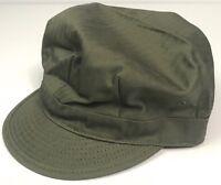 WWII US LIGHT GREEN HBT COMBAT FIELD CAP, SHORT BILL-MEDIUM