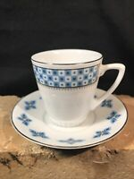 Vintage White with Blue Demitasse Tea Cup and Saucer Made in China