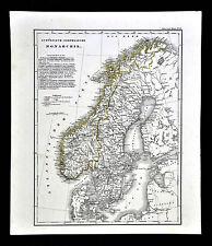 c.1848 Glaser Atlas Map - Sweden Norway Oslo Stockholm Christiansand Gothenburg