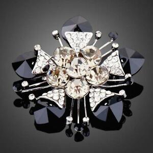 21st Birthday Gift For Her BLACK FLOWER CRYSTAL BROOCH KHAISTA