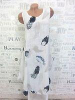 Sommerkleid Hängerchen Strand Kleid Tunika Leinen MIX IBIZA 38 40 42 Weiß E34