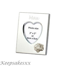 Heart Photo Frame & Eng. BULLDOG & Sterling Silver & personalised engraving
