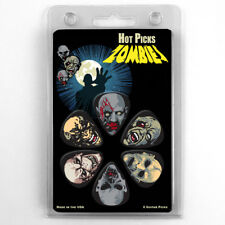 "Hot Picks ""ZOMBIES"" Guitar 6 Pick Pack, Medium, Clamshell Pics Skulls"