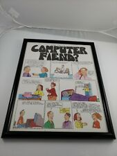 "Vintage 90s A Slice of life Comic ""Are you a Compurer Fiend?"" Framed Art Work"