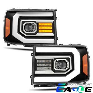 Fit 2007-2013 GMC sierra 1500/2500/3500HD Black Headlights Pair w/LED DRL+Signal