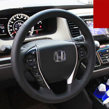 For Honda Odyssey Steering Wheel Cover Black Leather Black Thread Hand Sewing