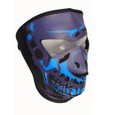 Biker Blue Chrom Skull Totenkopf Face Mask Gesichtsschutz Maske Sturmhaube