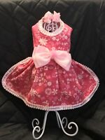 DOG DRESS/HARNESS HANDMADE PINK FLOWERS PET DRESS W/ FREE HAIR BOW