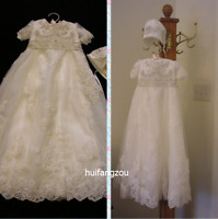 Newborn Vintage Infant Baptism Dresses Lace Baby Ivory White Christening Gown