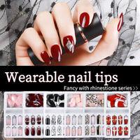 24pc False Nail Artificial Tips Set Full Cover Press On Nails Art Fake Extension
