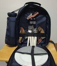 New listing Very Nice Picnic Time Bermuda Blue Insulated Backpack Place Setting for 2 People