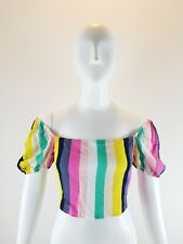 Forever 21 Crop Top Small Striped Multicolor Shorts Sleeve Boho Size Large L