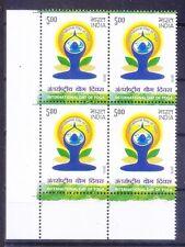 International Day of Yoga, Health, Exercise, India MNH Lt Lo Corner Blk 4 -Yo4