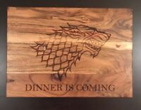"""Game of Thrones Inspired """"Dinner Is Coming""""  Acacia Wood Chopping Board -"""