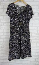NONI B Stretch Dress Sz L, 14 Blue, Beige, Black Print