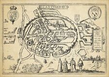 Canterbury 1588 George Braun uncoloured old map - modern reproduction - A2 size