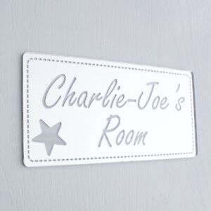 Shabby Chic Mirror Rectangle Personalised Door Name Plaque Boy Girls Bed Room
